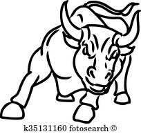 Charging Bull Clip Art Vectors.