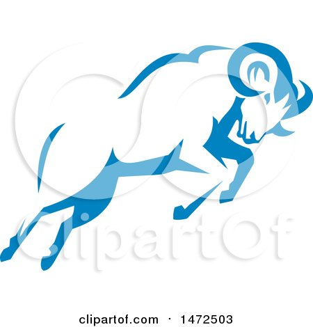Clipart of a Charging Blue Ram in Retro Style.