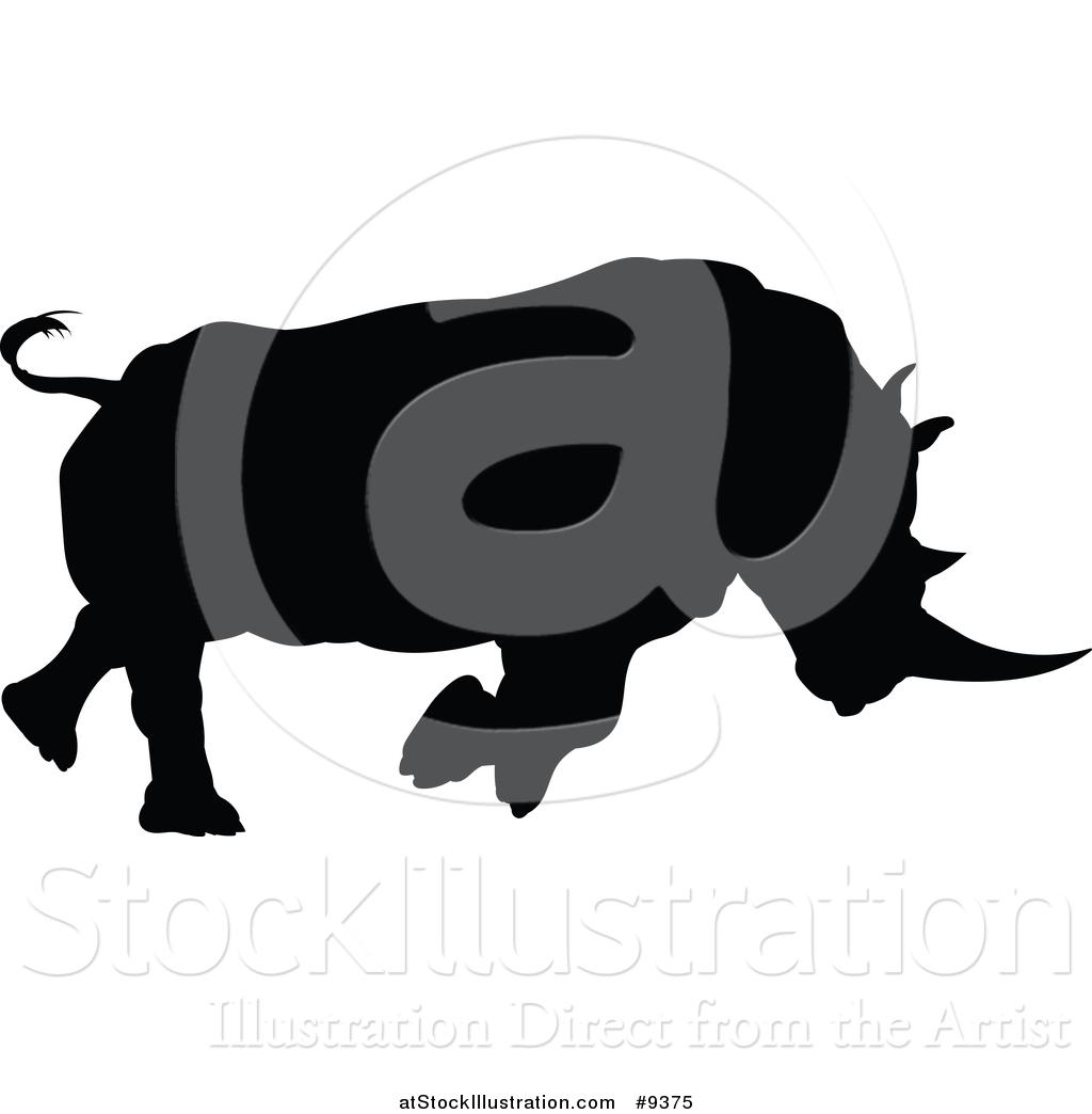 Charging Rhino Silhouette.