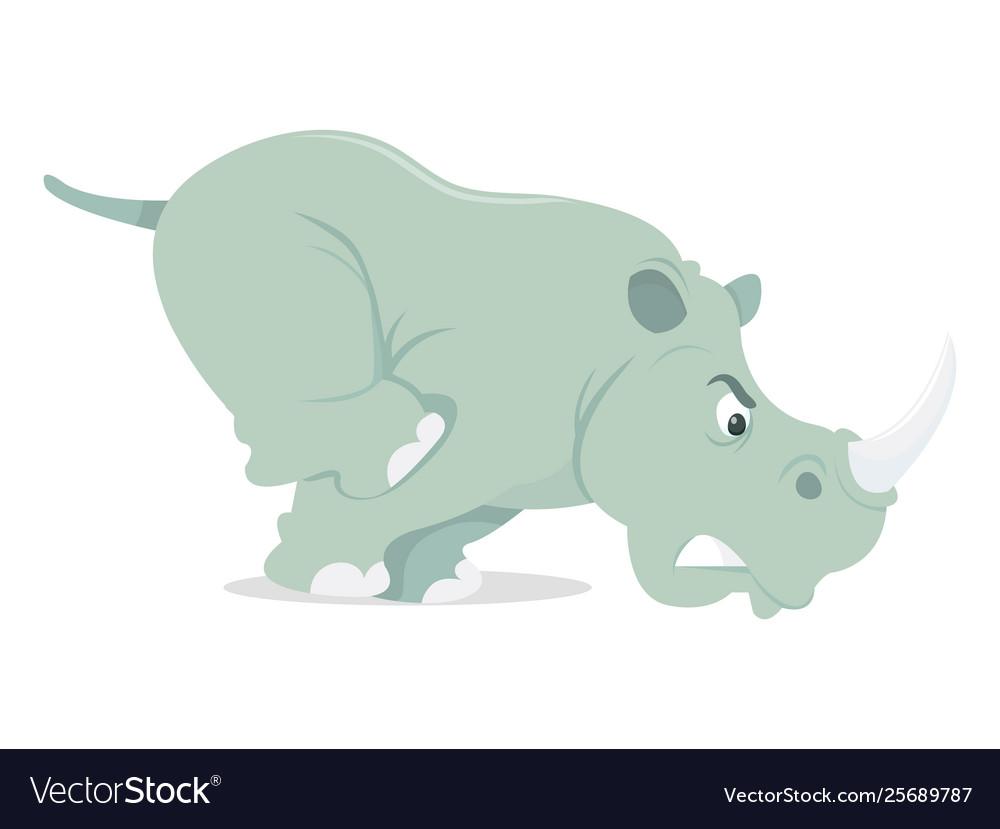 Cartoon charging rhino.