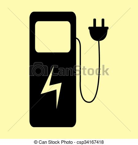 Vector Clip Art of Electric car charging station sign. Flat style.