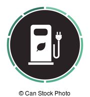 Vector Clipart of car charging station computer symbol.
