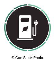 Vector Clipart of car charging station computer symbol.
