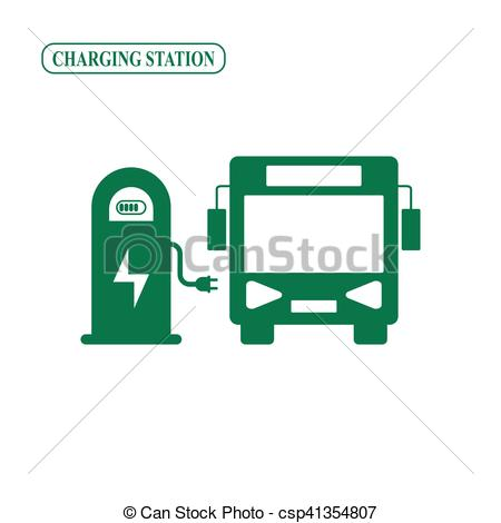 Vector Clipart of Electric bus charging station vector icon.