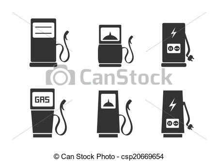 Clipart Vector of Charging station icons set.