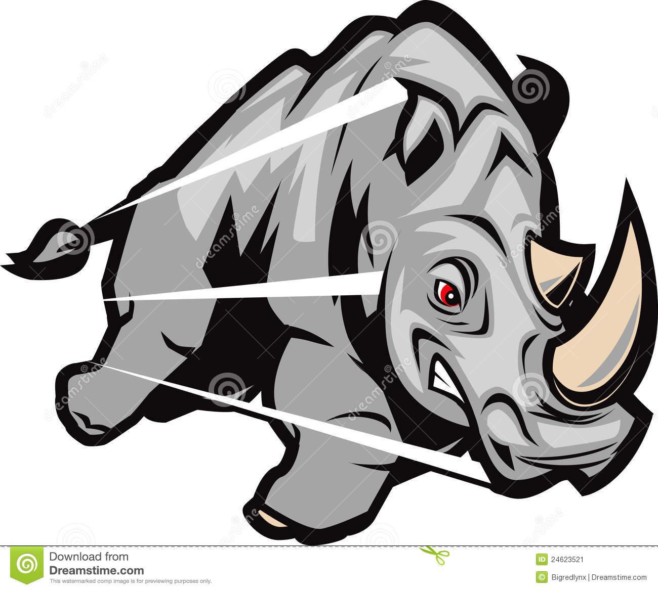 Rhino charging clip art.