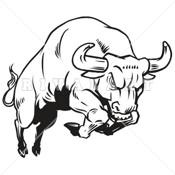 Charging Bull Clipart.