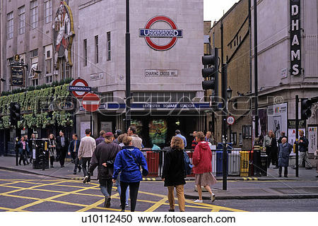 Stock Photography of Leicester Square Underground Station at.