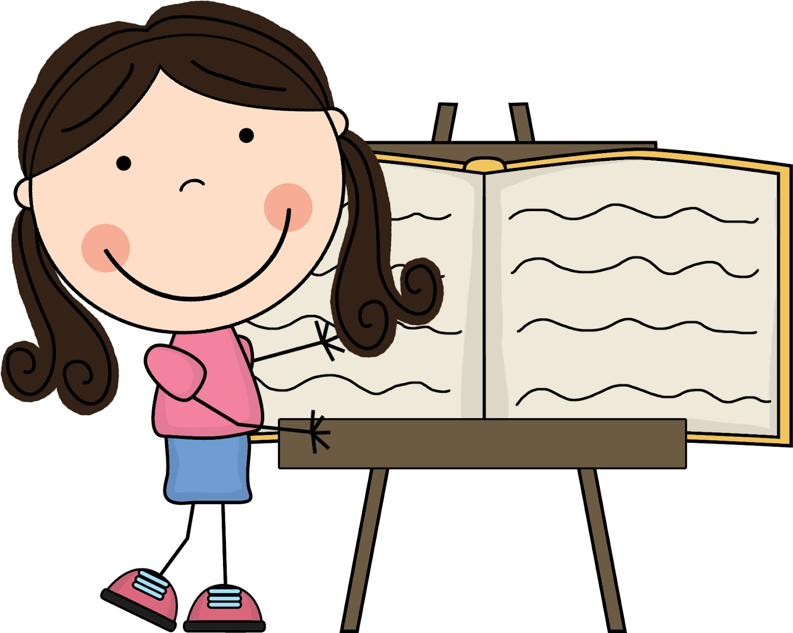 Clipart of a child charing his work.