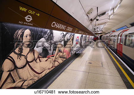 Stock Photography of England, London, Charing Cross. A tube train.