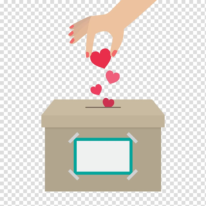 Person dropping hearts in box , Donation Euclidean International Day.