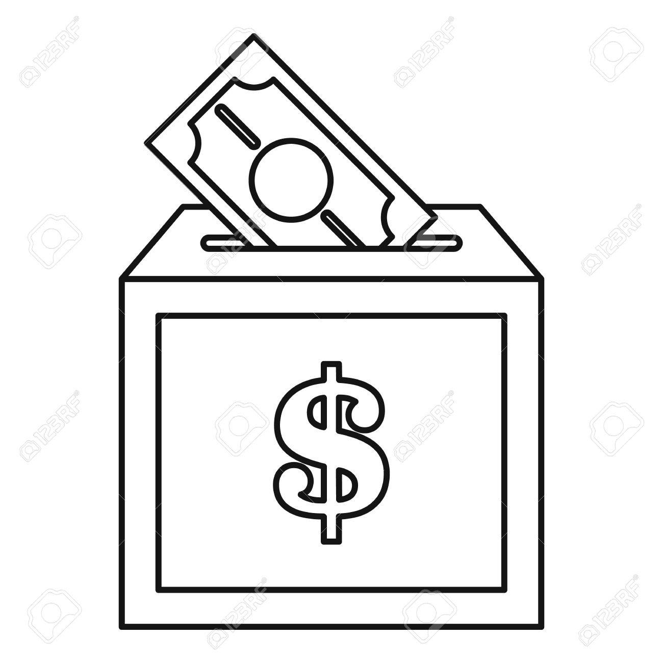 Donation box icon. Outline illustration of donation box icon...