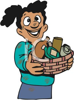 Girl Giving a Basket of Household Items to Charity.
