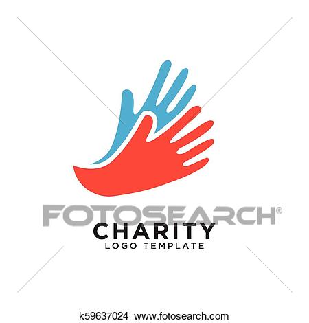 Charity logo design template Clipart.