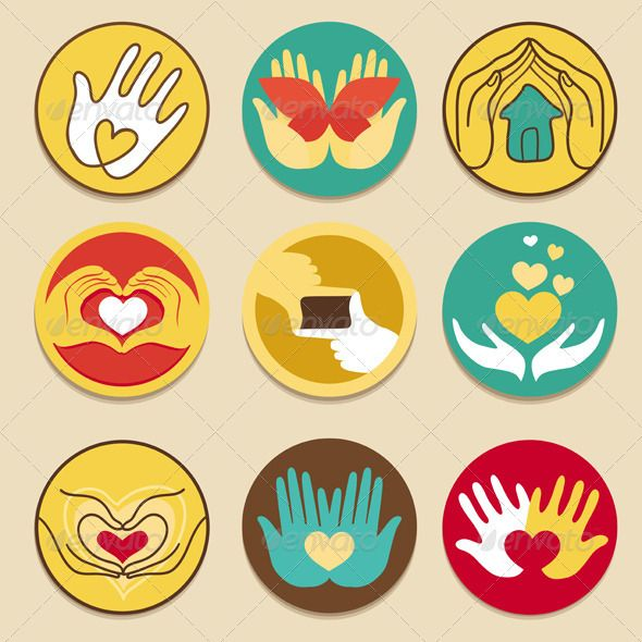 Collection of signs for charity organisations #GraphicRiver.