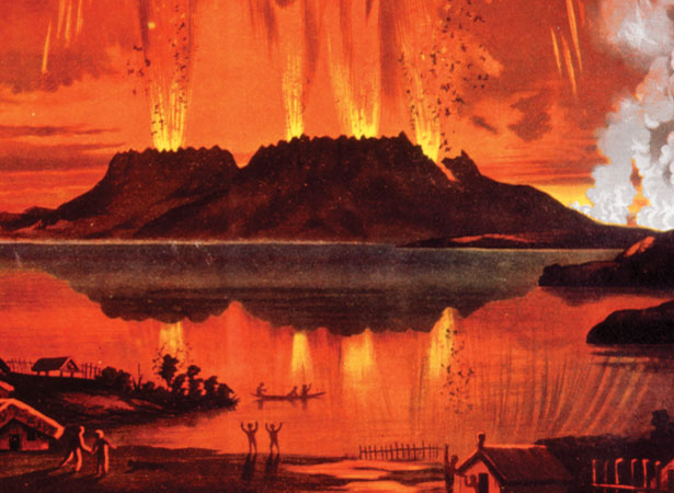 Eruption of Mt Tarawera.