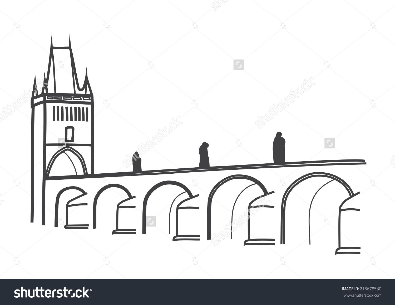 Illustration Charles Bridge Prague Most Visited Stock Vector.