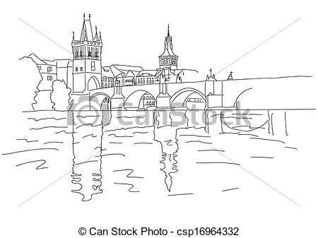 Vectors of Charles Bridge in Prague. Sketch. Vector illustration.