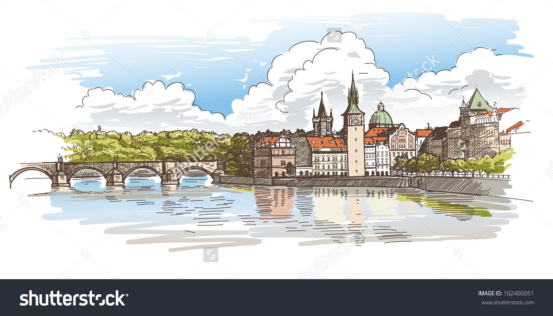 Panorama Prague View Charles Bridge Vltava Stock Vector 102400051.