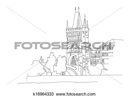 Clipart of Charles Bridge in Prague k16964333.