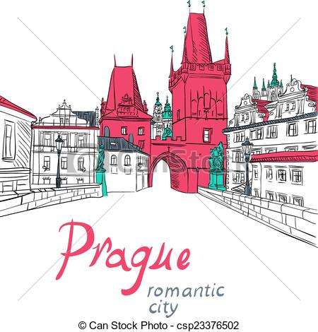 Vector Clipart of Charles Bridge in Prague.