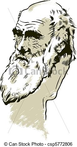 Clip Art Vector of Charles Darwin portrait. Vector format, fully.