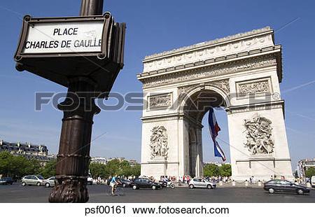Stock Photography of France, Paris, Arc de Triomphe, Place Charles.