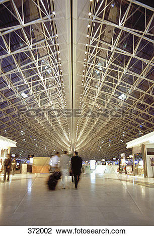Stock Photo of Foyer at Charles De Gaulle Airport, Paris, France.