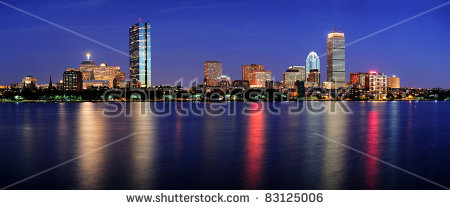 Boston City Skyline With Prudential Tower And Hancock Building And.