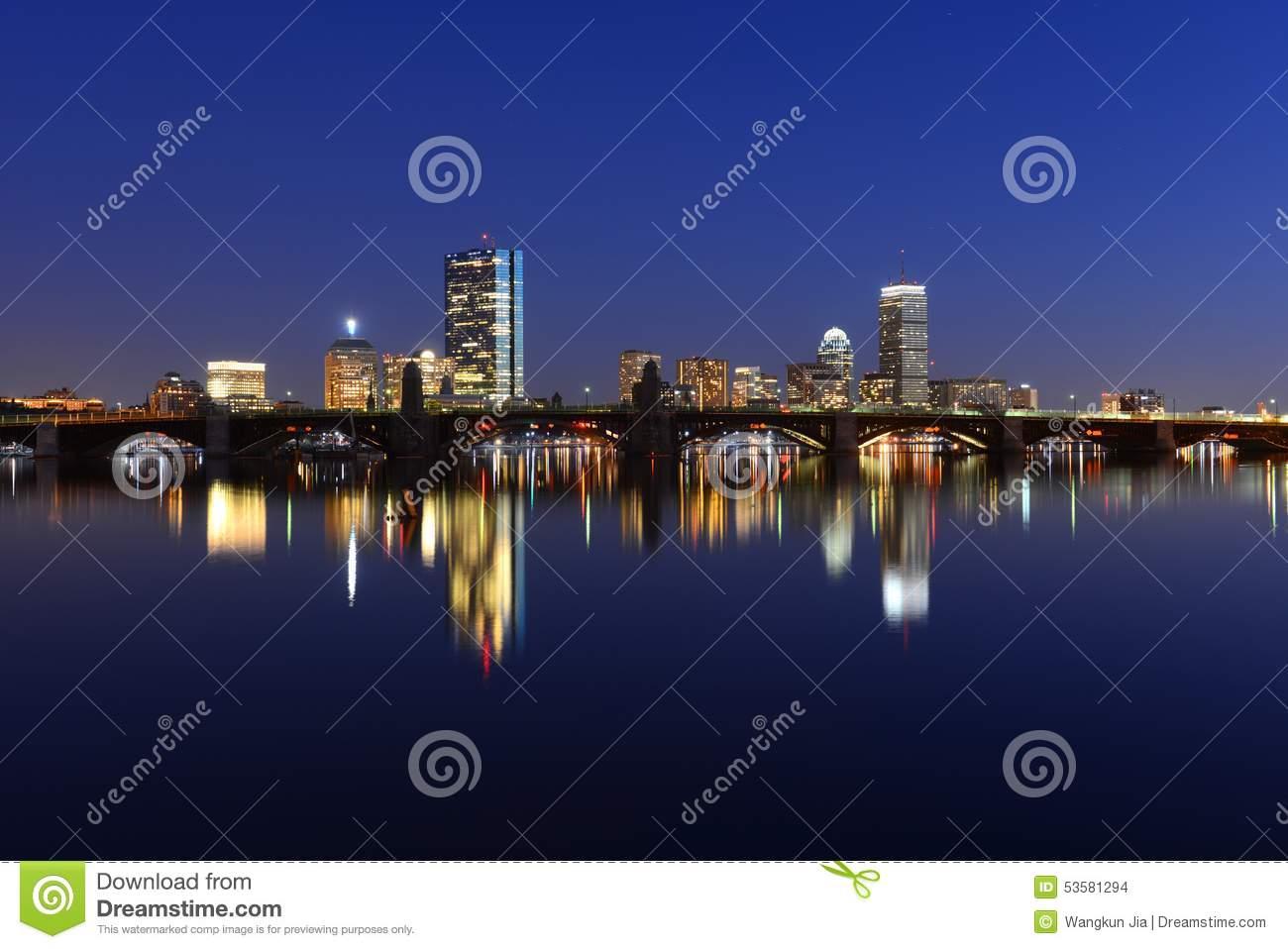 Boston Charles River And Back Bay Skyline At Night Stock Photo.