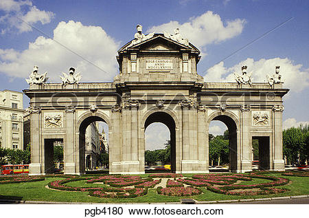 Stock Photography of Spain. Madrid. Alcala Arch designed by.