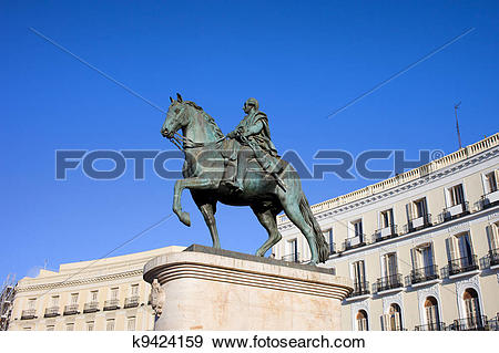 Stock Photograph of Statue of King Charles III in Madrid k9424159.