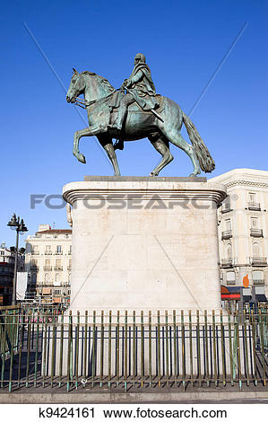 Stock Photography of Statue of King Charles III in Madrid k9424161.