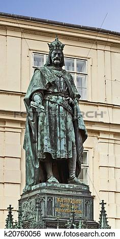 Stock Images of Prague, statue of Charles IV, Holy Roman Emperor.