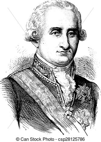 Vector of Charles IV, vintage engraving..