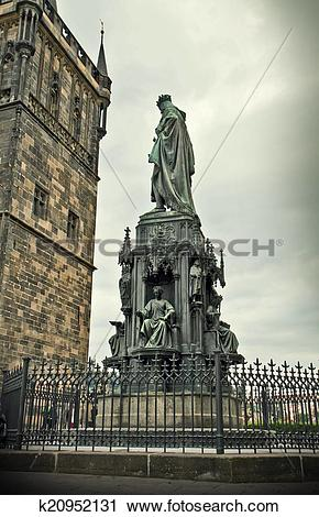 Stock Photography of King Charles IV monument and tower in Prague.