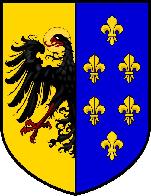 Features the coat of arms of Charlemagne (Charles the Great.