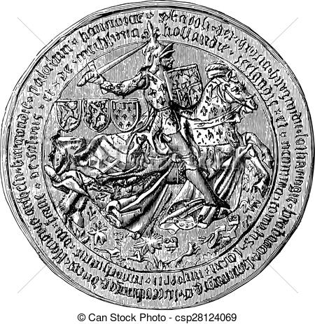 Clip Art Vector of Great Seal of Charles the Bold, Duke of.