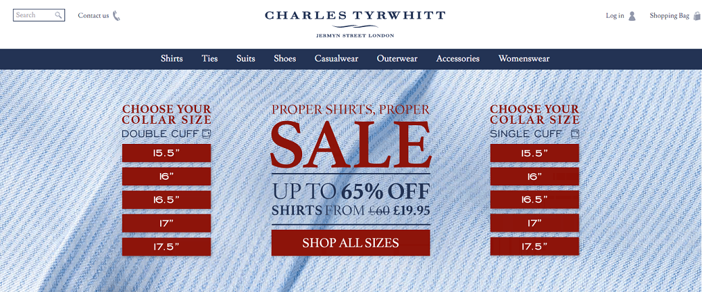 Charles Tyrwhitt Discount Codes, Sales, Cashback Offers & Deals.