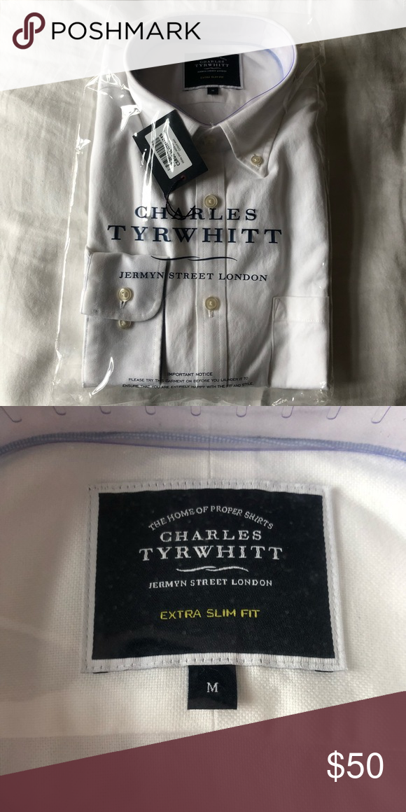 Extra Slim White Oxford Shirt Charles Tyrwhitt white plain extra.