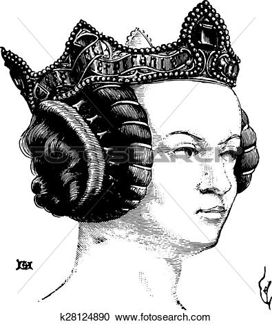 Clipart of Hairstyle of a noble lady under Charles V, vintage.