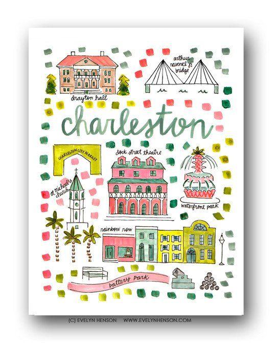 Charleston, SC Map Print.