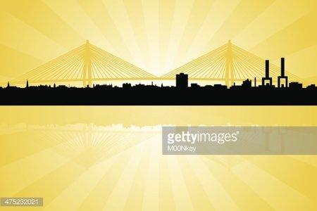 Charleston South Carolina Skyline With Arthur Ravenal Bridge.