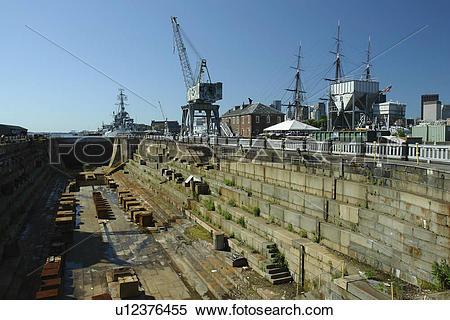 Stock Image of Boston, MA, Massachusetts, Charlestown Navy Yard.