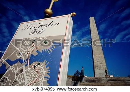 Stock Image of USA Boston Charlestown The obelisk of the Bunker.