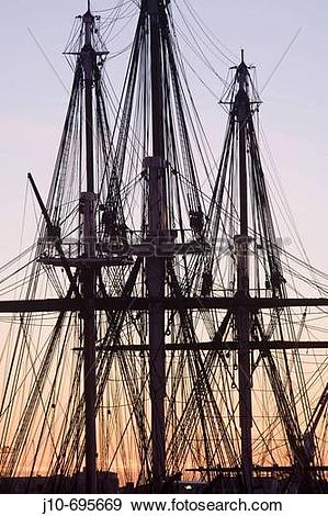 Stock Photograph of ?USS Constitution? rigging, sunrise, Navy Yard.