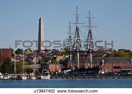 Stock Photo of Bunker Hill Monument and USS Constitution historic.