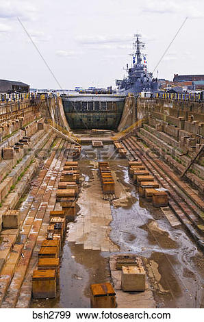 Stock Photograph of Dry dock at the USS Constitution Museum on the.
