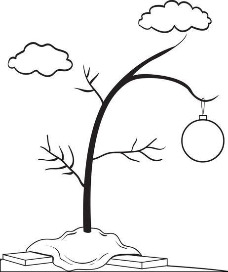 FREE Printable Charlie Brown's Christmas Tree Coloring Page for Kids.
