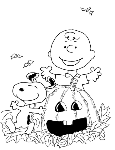 Charlie Brown Halloween coloring page.